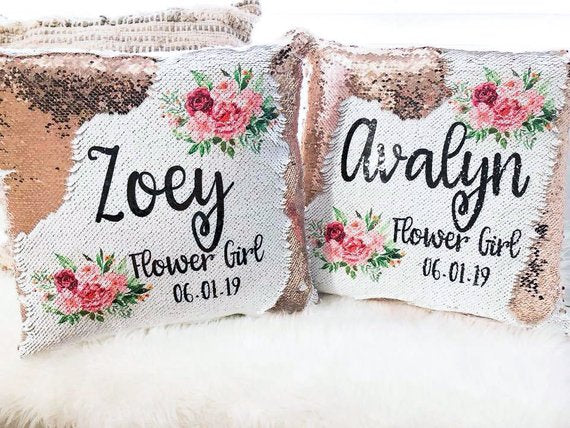 sequin flower girl pillows | How to Nail the Perfect Flower Girl Proposal
