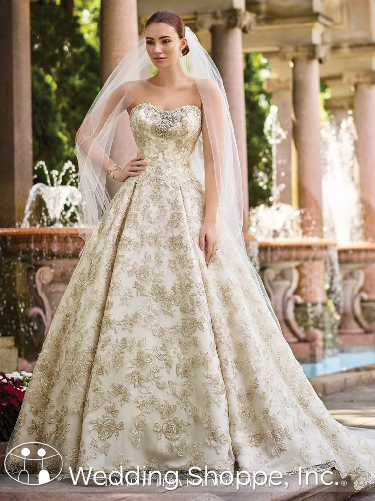 gold wedding gowns Mon Cheri