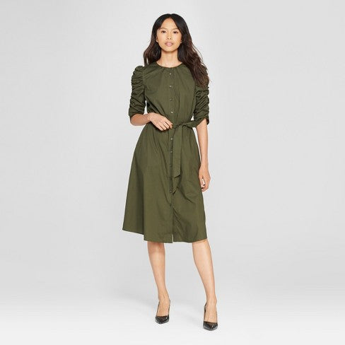 olive midi dress | What to Wear to a Winter Wedding