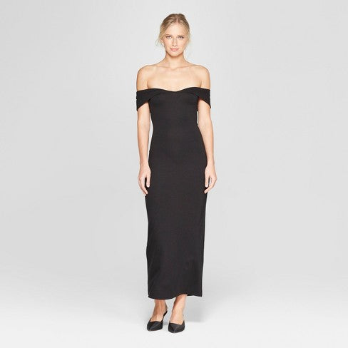 off-the-shoulder long black dress | What to Wear to a Winter Wedding