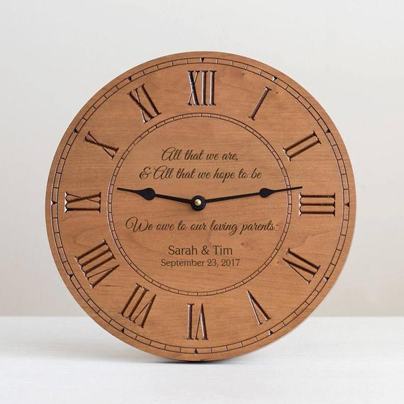 engraved wooden clock  | Parents of the Groom Gifts That They'll Love