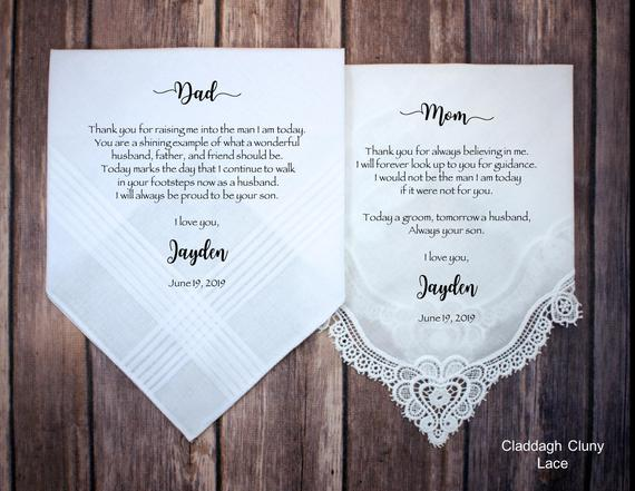 parents of the groom handkerchiefs  | Parents of the Groom Gifts That They'll Love