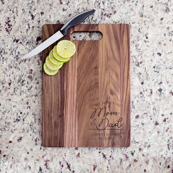 engraved wooden cutting board  | Parents of the Groom Gifts That They'll Love