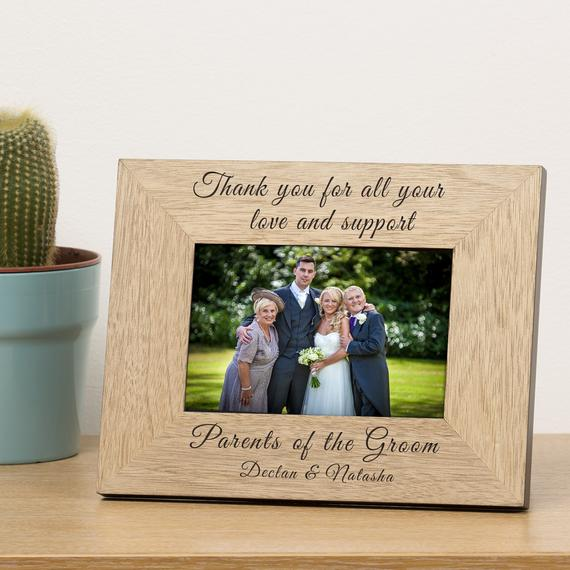 engraved picture frame  | Parents of the Groom Gifts That They'll Love