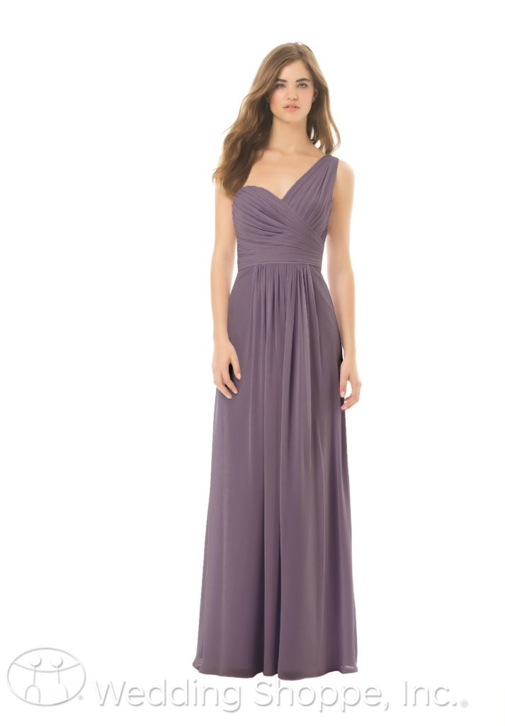 sweetheart neckline one-shoulder | Bill Levkoff bridesmaids dresses