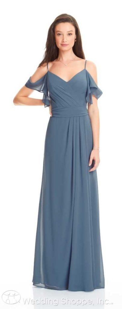 ruffle off-the-shoulder sleeves bridesmaid dress | Bill Levkoff Bridesmaid Dresses