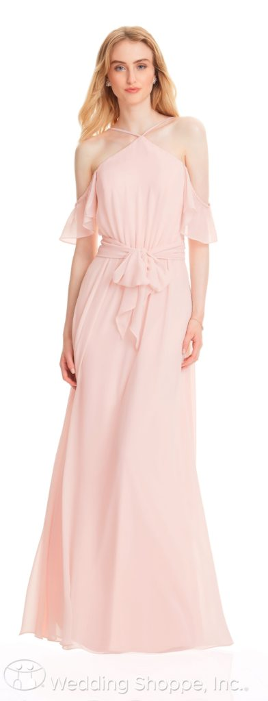 ruffled off-the-shoulder bridesmaid dress | Bill Levkoff Bridesmaid Dresses