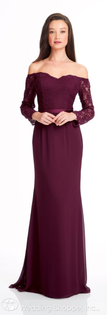 portrait neckline long sleeves bridesmaid dress | Bill Levkoff Bridesmaid Dresses