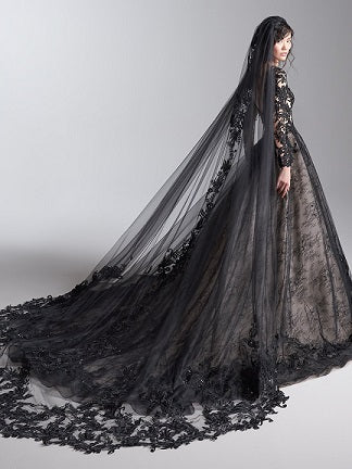Black Lacy Cathedral Veil
