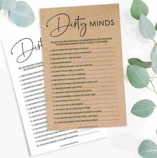 Dirty Minds Bachelorette Game