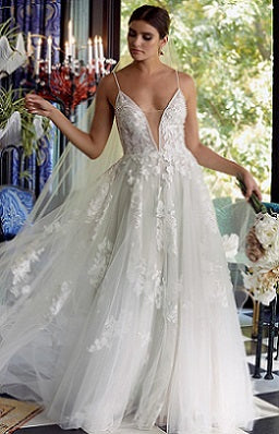 Embroidered Lace A Line Wedding Dress