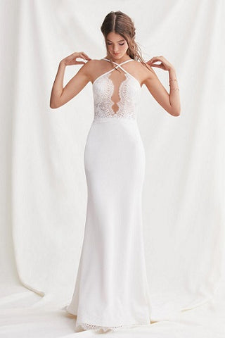 Crepe Fit and Flare Wedding Dress