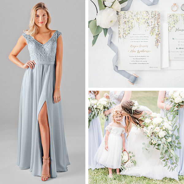 Alt Text: Wedding Shoppe Bridesmaids Dresses Kennedy Blue Fog