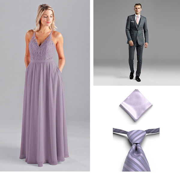 Generation Tux Iron Gray Peak Lapel Suit, Freesia Pre Tied Striped Tie, Lilac Pocket Square, Wedding Shoppe Kennedy Blue Bridesmaid Dress Iris French Lilac