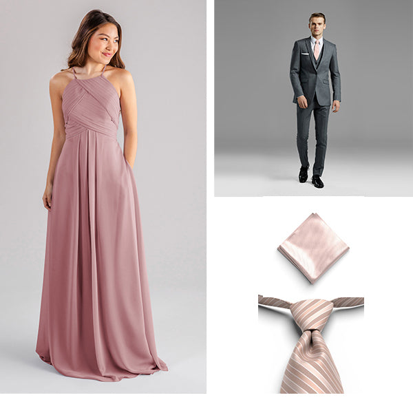 Generation Tux Iron Gray Peak Lapel Suit, Rose Gold Pre Tied Striped Tie, Petal Pocket Square, Wedding Shoppe Kennedy Blue Bridesmaid Dress Milly Desert Rose