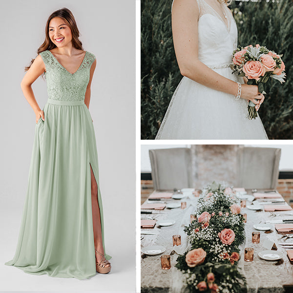 Wedding Shoppe Bridesmaids Dresses Kennedy Blue Sage Green