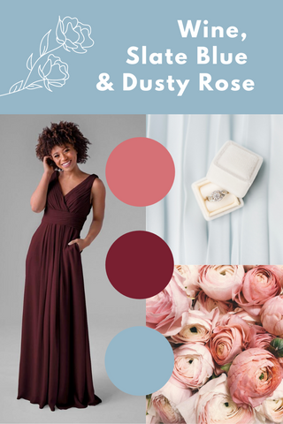 wine, slate blue and dusty rose wedding palette