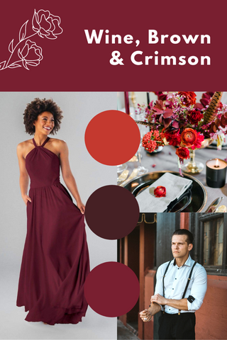 wine, brown and crimson wedding palette