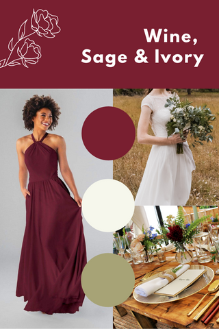 wine, sage and ivory wedding palette