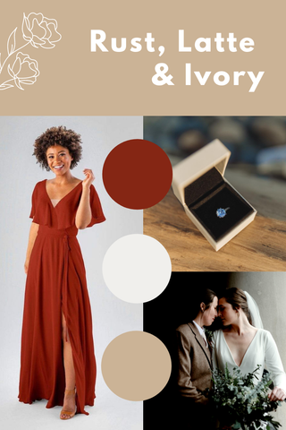 Rust, latte and ivory wedding palette