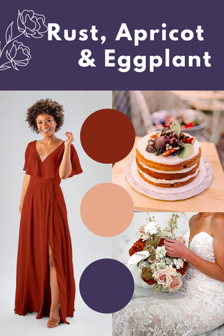 Rust, apricot and eggplant wedding palette