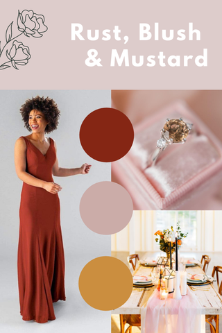 Rust, blush and mustard wedding palette