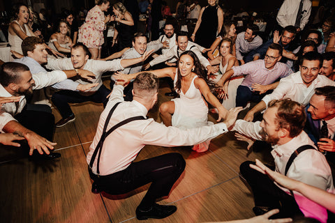 Bride and Groom with a group on the dance floor