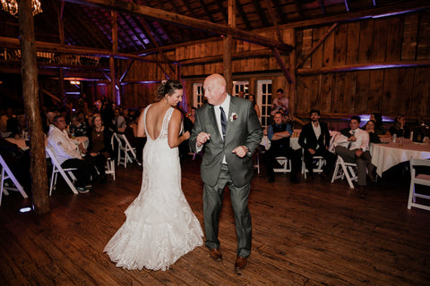 Bride and her father doing a cute circle spin moving during the Father-Daughter Dance.