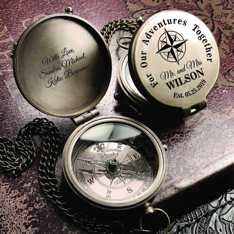 Engraved Compass Wedding Gift