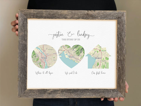 Love Story Map Wedding Gift