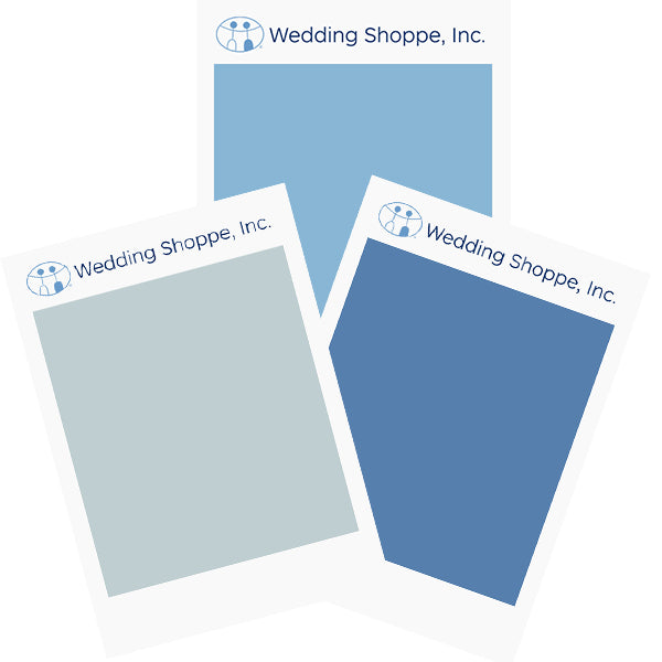 Wedding Shoppe Fabric Color Swatches Colors Mist, Capri, and Cornflower