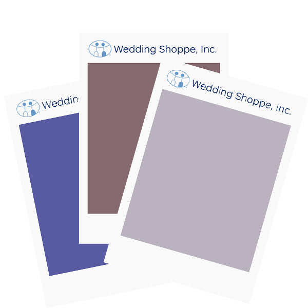 Wedding Shoppe Fabric Color Swatches Colors Regan, Wisteria and Violet