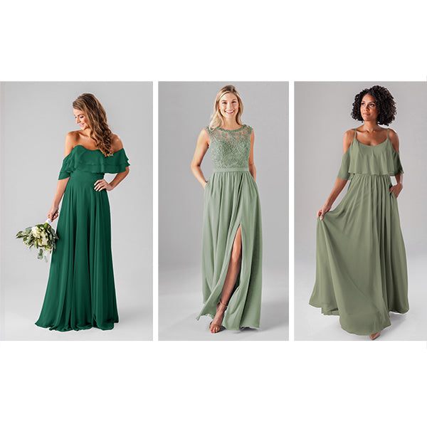 Wedding Shoppe Kennedy Blue Bridesmaid Dresses Colors Moss, Sage, and Emerald