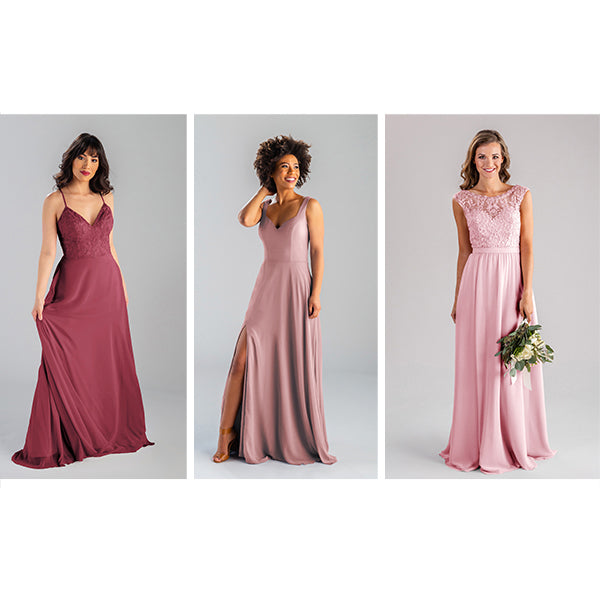 Wedding Shoppe Kennedy Blue Bridesmaid Dresses Colors Blush, Desert Rose, and Rosewood