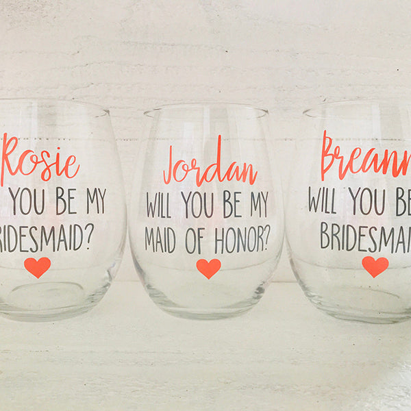 Wine Glass Bridesmaid Proposal Gift