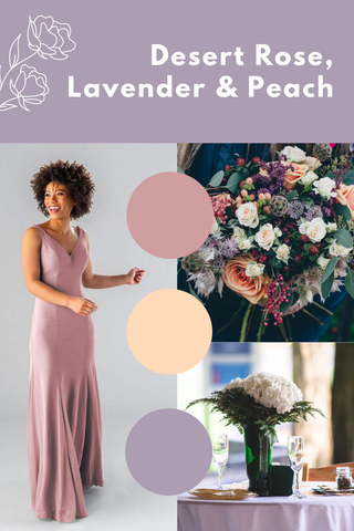 desert rose, lavender, and peach wedding palette