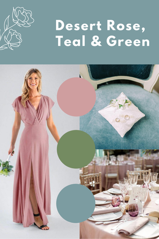 desert rose, teal and green wedding palette