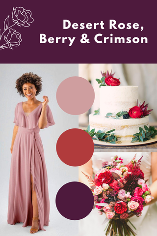 desert rose, berry and crimson wedding palette