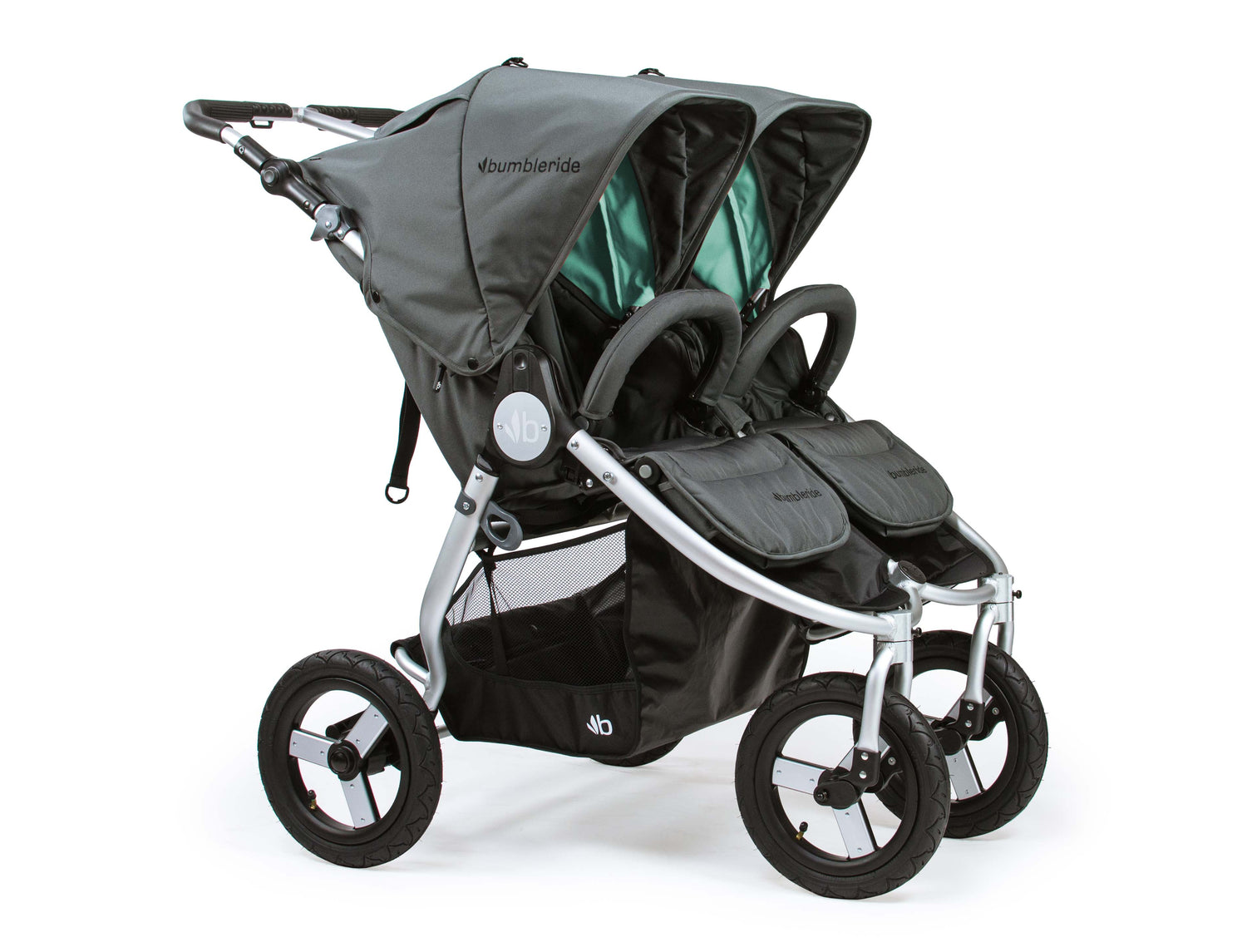 2018 Bumbleride Indie Twin Double Stroller - Dawn Grey Mint