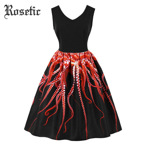 cc328039a2f Rosetic Gothic Vintage Casual Dress Print Animal Women Summer Pullover Party  Black Elegant Birthday Gift Prom