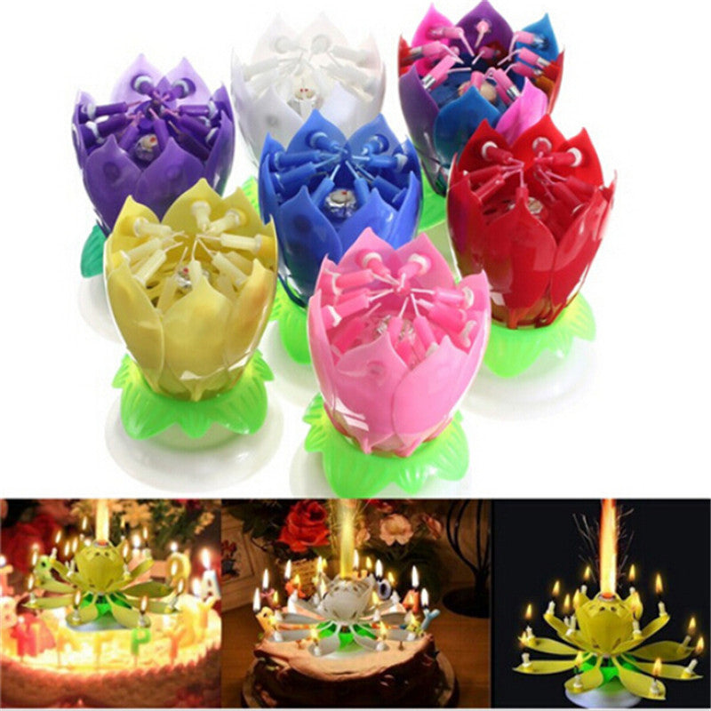 Musical Rotating Flower Happy Birthday Candle