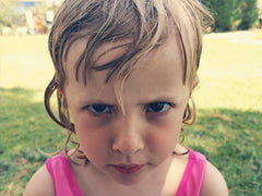 Angry child on holiday