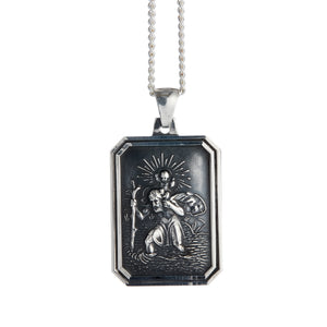 St Christopher Dog Tag Personalised Silver Necklace