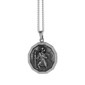 St Christopher Large Dodecagon Personalised Silver Necklace