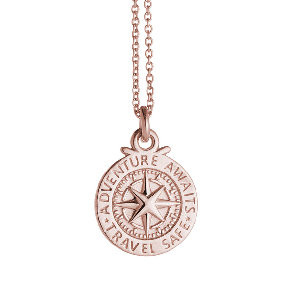 Travel Safe Compass Personalised Solid Rose Gold Necklace