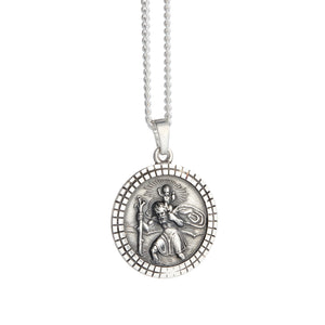 St Christopher Mosaic Border Personalised Silver Necklace