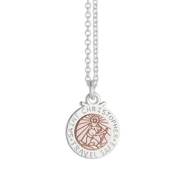 Personalised St Christopher Necklace - Silver & Rose Gold