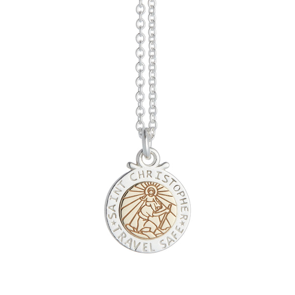 unusual silver gold saint christopher necklace for women travel safe gift idea