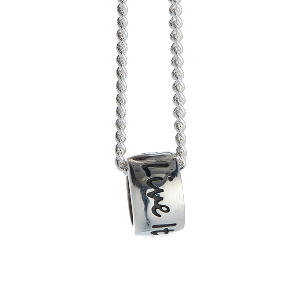 One Life, Live It! Recycled Silver Necklace