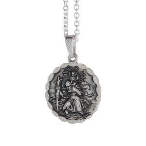 mens antique finish silver saint christopher gift idea for son 18th